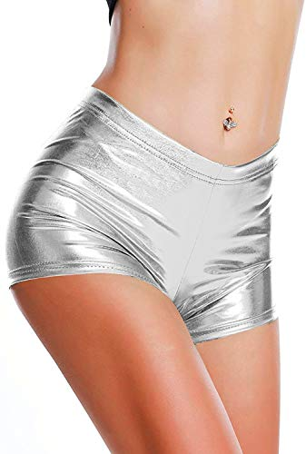 DODOING Damen Metallic Rave Booty Tanz Shorts Frauen Shiny Kurze Hosen Sommer Wetlook Hot Pants -
