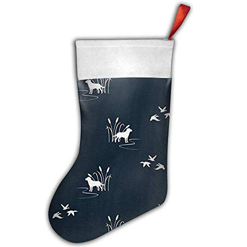 Dog Ducks Hunting Scene Mini Christmas Stockings Gift & Treat Bag,for Favors and Decorating