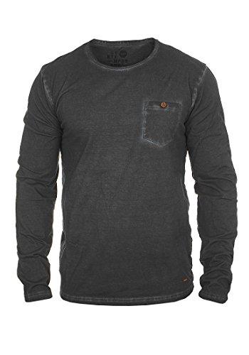 SOLID Tharan Herren Longsleeve Rundhals-Ausschnitt aus 100% Baumwolle Black (9000)