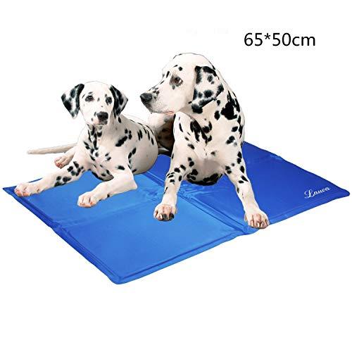 """Haustier Kuehlmatte,, Lauva Selbstkühlende Hundedecke mit Gel Pads als kühle Matte für Hunde und Katzen in Betten, Transportkisten, Zwingern -26"""" x 20""""(65*50 cm)-Blau"""