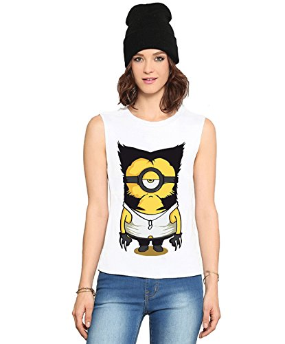 Fanideaz Round Neck Cotton Wolverine Minion Sleeveless T Shirt For Women_White_S (Sleeveless Tops)  available at amazon for Rs.499