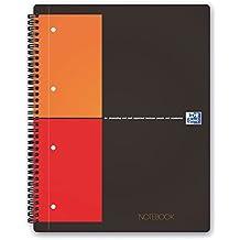 OXFORD 100103664 Notebook International A4+ kariert 80 Blatt stabiler Kartondeckel grau Spiralblock Collegeblock - clevere Organisation für Manager und Führungskräfte