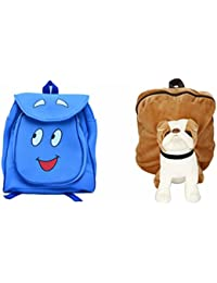 Pratham Enterprises Combo Of Blue Smile Bag And Brown Bull Dog Soft Toy Bag ( Pack Of 2 )