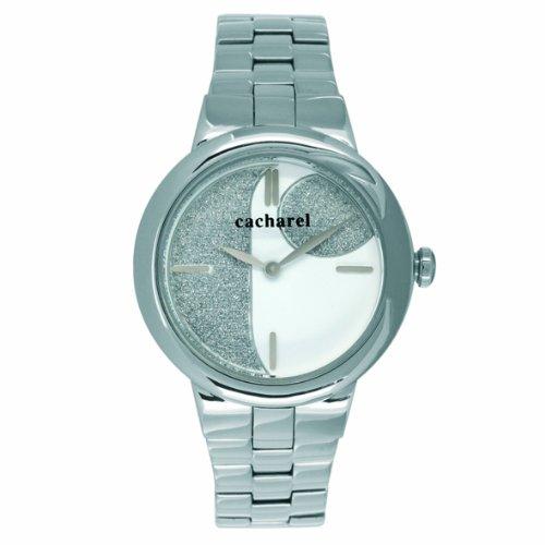 cacharel  - reloj analógico de cuarzo para mujer, correa de acero inoxidable color plateado