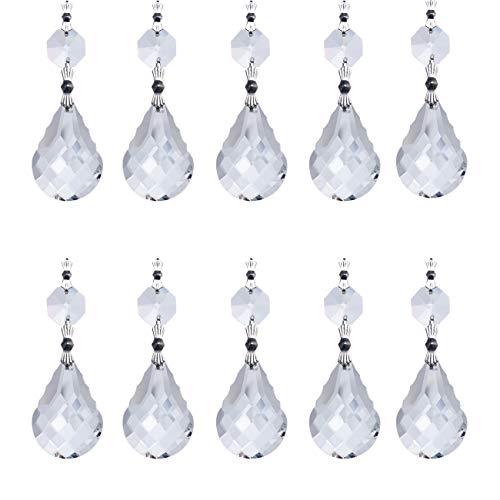 H&D 38 mm Glas kristall Tropfen Facettenreich Kronleuchter Prismen Anhänger Lampe Kerzenhaltern Teile, Kristall Wassertropfen 10 Stück,klar -