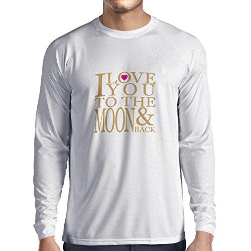 T-Shirt mit langen Ärmeln Ich liebe dich zum Mond und zurück zu lieben T-Shirt, große Valentinstag Geschenk Weiß Gold
