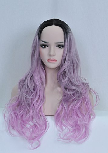 Beauty Smooth Hair Frauen Lang Laenge Lockiges Welle Mittelteil Haar Cosplay Peruecke (Schwarz and Helles (Lila Schwarze Haare)