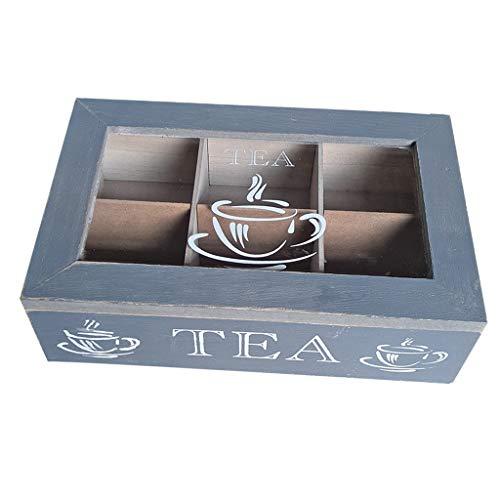 B Blesiya 6-Fächer Teebox Teekiste Teebeutel Aufbewahrung Box für Tee Kaffe Kräuter - Blau