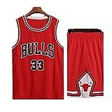 Mannen NBA Basketball Jersey Scottie Pippen # 33, Ademend Slijtvast Geborduurde Sweatshirt T-shirt + Shorts, XS-XXL, FHI020IHF (Color : Red, Size : XL)