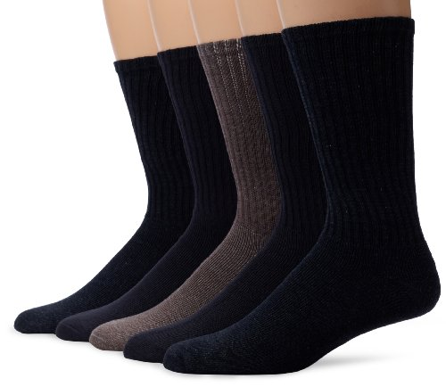 Dockers 5 Pack Cushion Comfort Sport Crew Socks Navy/Charcoal Assorted