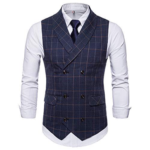 TWBB Herren Weste Tuxedo Passen Zweireiher Pullover Gitter Drucken Jacke Hochzeit Formal Waistcoat Schlank Ohne Ärmel Oberteile Tops -