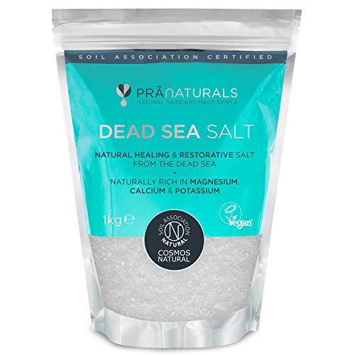 PraNaturals Totes Meer Salz 1kg / 5kg, Bad reich an natürlichen Mineralien Magnesium für alle Hauttypen, COSMOS Natural, Vegan