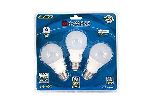 CVMORE® Lot de 3 LED Ampoules Standard 6W Culot E27 A60 6500K Blanc Froid 480 Lm Consommés Équivalent à ampoule incandescente de 50W [Classe énergétique