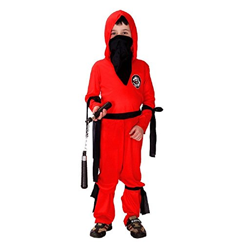 Taglia XL - 9-10 anni - Costume - Travestimento - Carnevale - Halloween - Guerriero Ninja - Colore rosso - Bambino