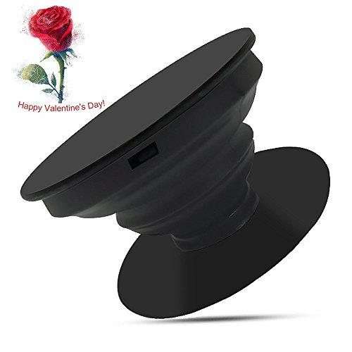 Schwarze Leder-handy-halter (Pop Stand Smartphone Vicksongs Handy Ständer Ausziehbarer Sockel und Griff Tisch Halterung für iPhone X 8 Samsung Galaxy S8 Note 8 Kindle (1 pc, Schwarz))