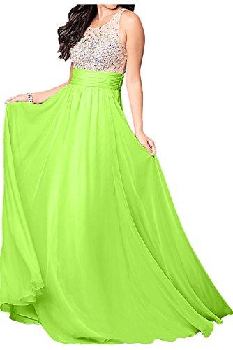 Ivydressing Damen Elegant Lang Abendkleider Steine A-Linie Ballkleider Chiffon Promkleider Grün