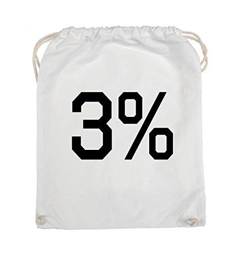 Comedy Bags - 3% - LOGO - Turnbeutel - 37x46cm - Farbe: Schwarz / Pink Weiss / Schwarz