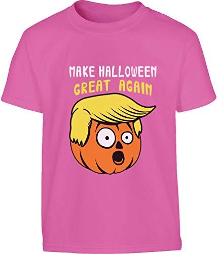 Make Halloween Great Again Kürbis Gesicht Kostüm Kinder T-Shirt 9-10 Jahre (140cm) Wow rosa