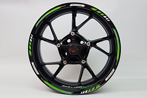 Motorking 710001Rim Stripes GP de Style–Racing 1000Green–Juego completo–para 16pulgadas, 17pulgadas y 18pulgadas (9mm de ancho llanta Tiras)–para 2de motocicleta/O 4Auto Llantas