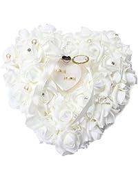 Zinsale Elegante En forma de corazón Boda Almohada del portador del anillo Rosa Caja del anillo con Satén floral