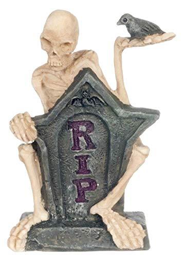Melody Jane Puppenhaus Miniatur Halloween Macabre Grab Yard Kopf Stein mit Skelett