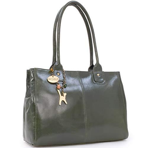 Catwalk Collection Handbags - Leder - Große Schultertragetasche/Umhängetasche/Shopper/Tote - KENSINGTON - Grün -