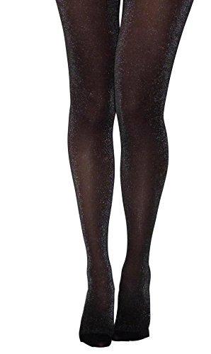 essexee Legs schwarz-silber Lurex Strumpfhose Größen: M, L, XL Glitzer modische Strumpfhose - schwarz-silber, X-Large (Blickdichte Lurex Strumpfhose)