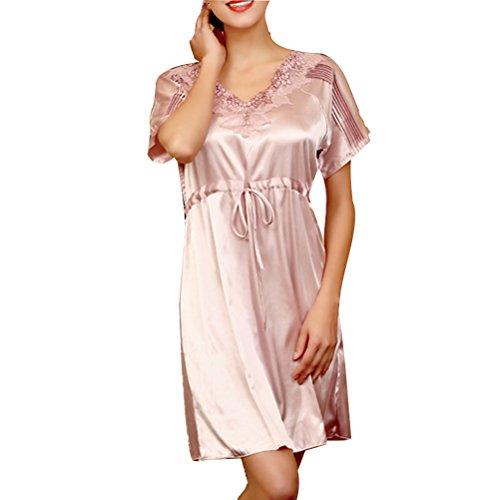 Zhhlinyuan Sexy Design Women V-neck Silk Lace Sleepwear Nightwear Outfits SQ121 Pale Lavender