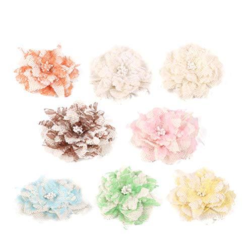 Amosfun 8 stücke Sackleinen Blumen DIY Spitze Rose Blumen Kleine Rustikale Blumen Verzierungen für Handwerk Nähen Stirnbänder Baby Mädchen Haarblume (Stirnbänder Mädchen Handwerk)