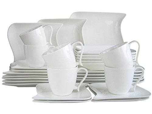 CreaTable 18514, Serie Ocean weiß, Geschirrset Kombiservice 30 teilig Sets De Table