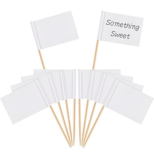 faehnchen zum beschriften Pangda Leere Zahnstocher Flaggen Käse Marker Weiß Flaggen Kennzeichnung für Party Kuchen Lebensmittel Käseplatte Vorspeisen (100 Stücke)