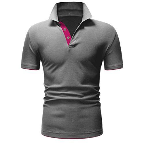 Tough Guy T-shirt (ZHANSANFM Poloshirt Herren Stehkragen Kurzarm Polohemd Polo Shirts Button Down Basic Casual Tops mit Polokragen T-Shirt Freizeit Fitness Muskelshirt Modern Regular Fit Elegant (M, Grau))