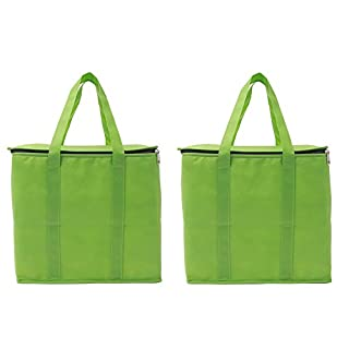 Augbunny Insulated Reusable Extra Large Grocery Shopping Thermal Cooler Tote Bags With Zipper Closure 2-pack