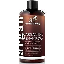 Champú orgánico marroquí con aceite de argán de ArtNaturals; es hidratante y antienvejecimiento; proporciona volumen; no tiene sulfato; apto para cabellos teñidos y de todo tipo; 473ml