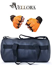 VELLORA Leather Soft Gym Bag (Black) With Netted Gym & Fitness Gloves With Wrist Support Orange Color