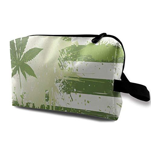 TRFashion Borsa cosmetica da viaggio Makeup Bag Vintage White Marijuana Portable Travel Multifunction Beauty Bags Customized Case For Women