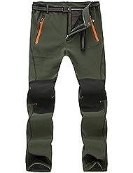 superray Hombres Deportes al aire libre impermeables y cortavientos pantalones de acampada, verde