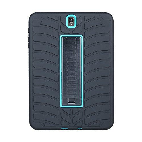 Galaxy Tab S39.7Coque, Jessica Pneu Série Ultra résistante aux chocs [Drop protection] 3en 1hybride Coque en silicone avec PC Plastique avec béquille pour Samsung Galaxy Tab S3Tablette (24,6cm, Sm-t820T825) Noir+Bleu