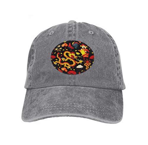 Xunulyn Unisex Trucker Hat Cap Cotton Adjustable Baseball Dad Hat Chinese New Year Festive Rooster Zodiac Gray Lantern Fortune Gray