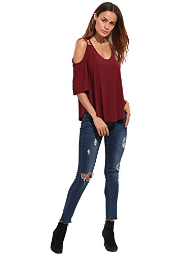 ROMWE Damen Cut-outs Cold Shoulder Tshirt Locker Stretch Shirt Oberteil Burgundy