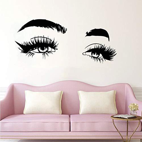 Cmhai Wimpern Makeup Wall Decal Kosmetik Micro Beschaufeln Vinyl Wandaufkleber Wimpern Augenbrauen Fototapete Beauty Salon Decor Größe 97 * 42Cm