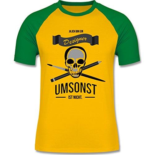 Designer - Designer Umsonst ist nicht - zweifarbiges Baseballshirt für Männer Gelb/Grün
