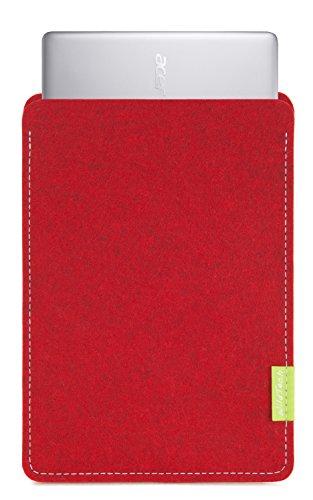 WildTech Sleeve für Acer Chromebook 14 (CB3-431-C6UD) Hülle Tasche aus echtem Wollfilz - 17 Farben (Handmade in Germany) - Kirschrot