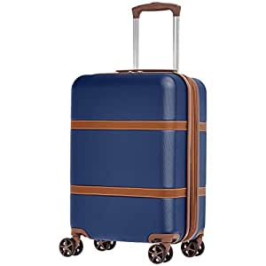 AmazonBasics Vienna Expandable Hardsided Cabin Trolley with Extreme Scratch Resistance - 55 cm, Blue
