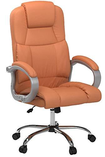 TPFLiving XXL Bürostuhl Chefsessel Denver Orange Belastbar bis 210kg Kunstleder