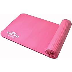 PhysioWorld - Esterilla de deporte, colchoneta de fitness / entrenamiento de espuma NBR para Pilates, Gimnasio, Yoga, Ejercicio, color rosada