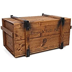 "'Uncle Joe' s 75761baúl mesa Caja de madera ""Roosevelt Field, Vintage, Shabby Chic madera 98x 55x 48cm), color marrón claro"