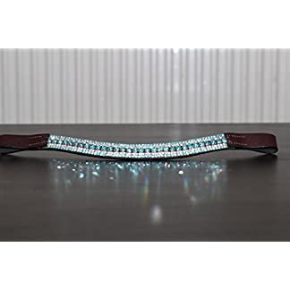 Equipride Beautilful Curve Shape Bling Crystal Browband Sparkly Turquoise 14