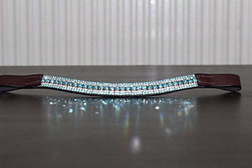 Equipride Beautilful Curve Shape Bling Crystal Browband Sparkly Turquoise 1