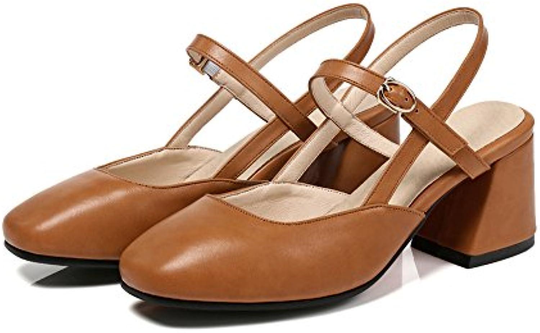 VIVIOO Tacón Alto Mujeres Bombas Simple Hebilla PU Zapatos De Verano Grandes Zapatos Casuales De Moda Cómodos...